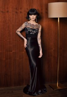 Style #303, lace long sleeve fitted evening gown with illlusion neckline and silk skirt, available in pink and black