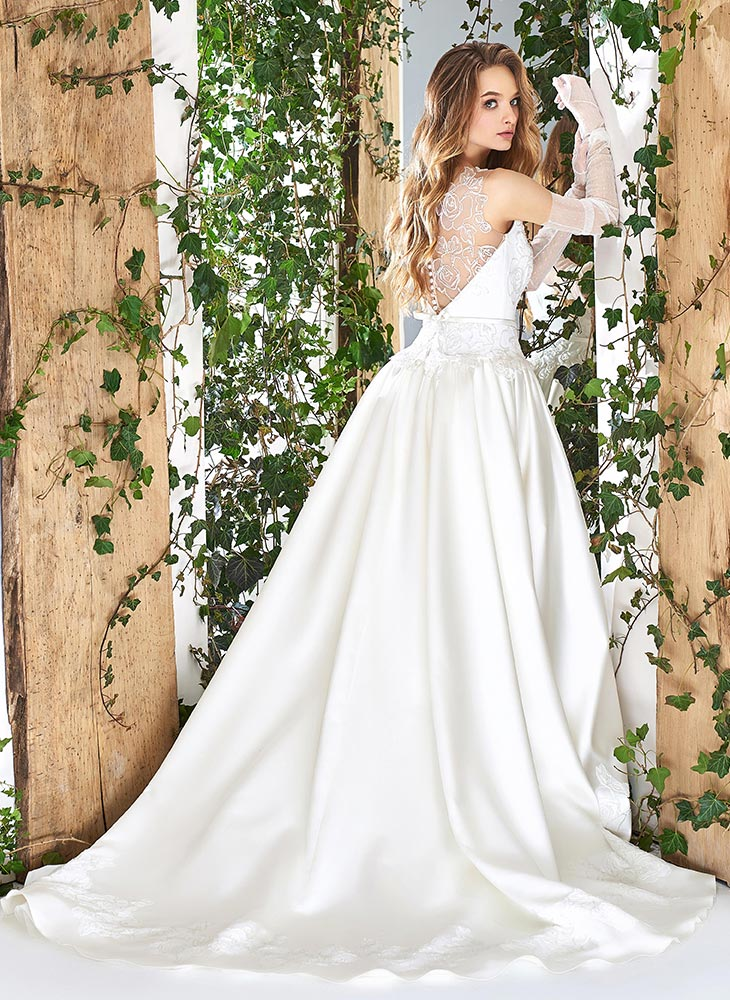 Style 1800l Satin Ball Gown Wedding Dress Designed With Illusion Plunging Neckline