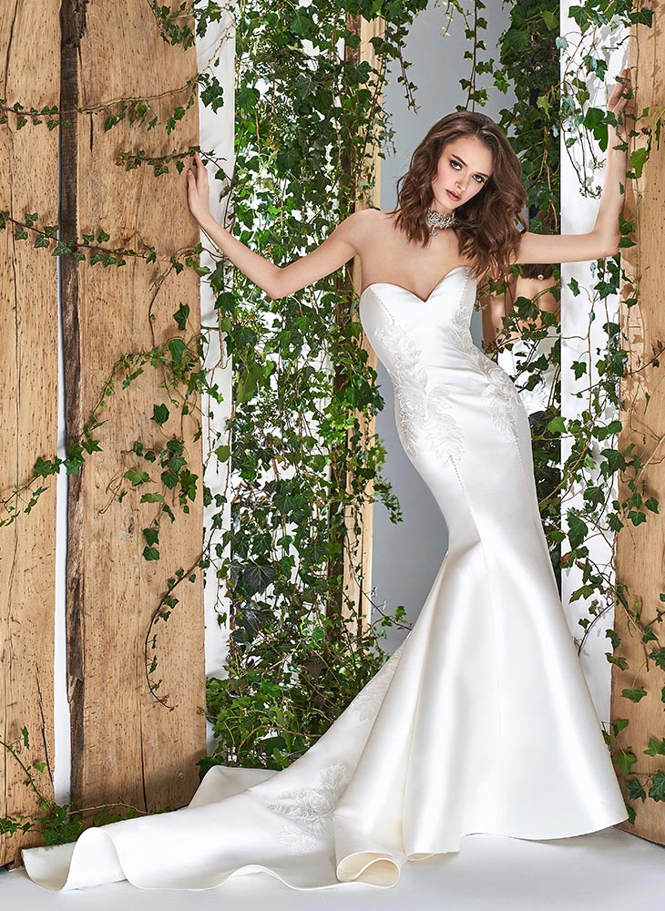 Style #1801L, strapless mikado mermaid wedding dress with sweetheart neckline and lace embroidery, available in ivory