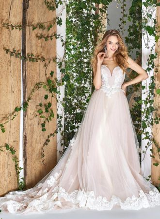 Style #1803L, sleeveless ball gown wedding dress with illusion sweetheart neckline and lace embroidery, available in ivory and powder