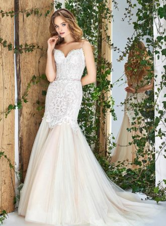 Style #1804L, lace fit and flare wedding dress with sweetheart neckline,spaghetti straps, and tulle skirt, available in ivory and powder