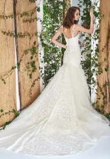 Style #1806L, sequined lace fit and flare wedding dress with sweetheart neckline and spaghetti straps, available in ivory and cream