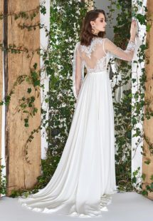 Style #1807L, sheath long sleeve wedding dress features illusion back, deep v-neck and chiffon skirt, available in ivory