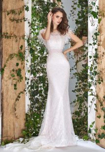 Style #1808L, lace off-the-shoulder wedding dress with feathers at the illusion neckline, available in light pink
