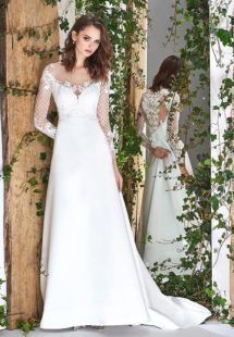 Style #1809L, long sleeve modified a-line wedding dress with illusion neckline and low back, lace embroidered top and satin skirt, available in ivory