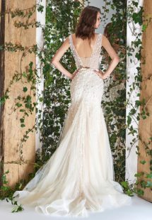 Style #1811L, sleeveless fit and flare wedding dress with deep v neck, 3-D floral embroidery and slit down the skirt, available in ivory and ivory-nude