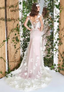 Style #1815L, cap sleeve wedding gown, designed with illusion sweetheart neckline and v-back, 3-D flower decor and lace embroidery, available in ivory and ivory-pink