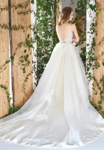 Style #1816L, sleeveless ball gown wedding dress with illusion neckline and back, hand beaded and embroidered bodice and lace decor, available in ivory and cream-nude