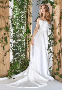 Style #1819L, sweetheart neckline a-line wedding dress with double spaghetti straps and lace embroidered top, available in ivory