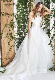Style #1820L, sleeveless a-line wedding gown features feathers and beading embroidered lace top, a figure-cinching wide waistband with tulle skirt, available in ivory