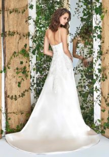 Style #1822L, satin fit and flare wedding dress with sweetheart neckline, spaghetti straps, and lace embroidery down the top, available in cream and ivory