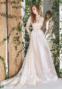 Style #1827L, high neck a-line wedding dress, designed with illusion sweetheart neckline, long sleeves, and lace embroidery, available in ivory and ivory-pink