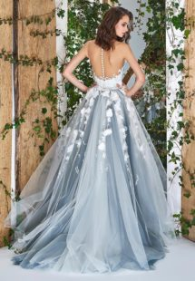 Style #1828L, sleeveless ball gown wedding dress with illusion sweetheart neckline, low back and 3-D floral embroidery down the skirt, available in ivory and ivory-grey