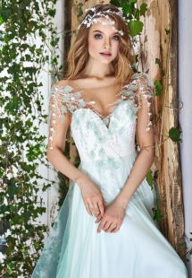 Style #1829L, short sleeve a-line wedding dress with illusion sweetheart neckline, tulle skirt, and leaf embroidery on top, available in ivory and light green