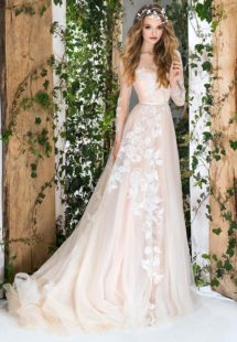 Style #1835L, floral embroidered a-line wedding dress features long sleeves, illusion neckline, and keyhole back, available in ivory and ivory-gold