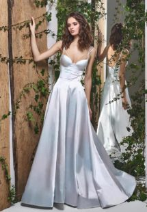 Style #1836L, satin a-line wedding dress features double spaghetti straps, and sweetheart neckline, available in light blue-rose, white and ivory
