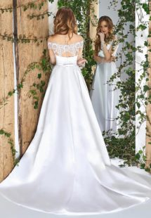 Style #1840L, satin a-line wedding dress with illusion neckline, and off the shoulder short sleeve, available in white, cream and ivory