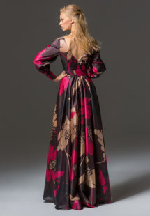 Style #335b, floor-length A-line evening gown with bishop sleeves, belt and V back, available in brown-pink, beige-black