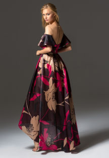 Style #336, high-low cocktail dress with belt featuring an illusion neckline and off the shoulder bell sleeves, available in brown-pink, beige-black
