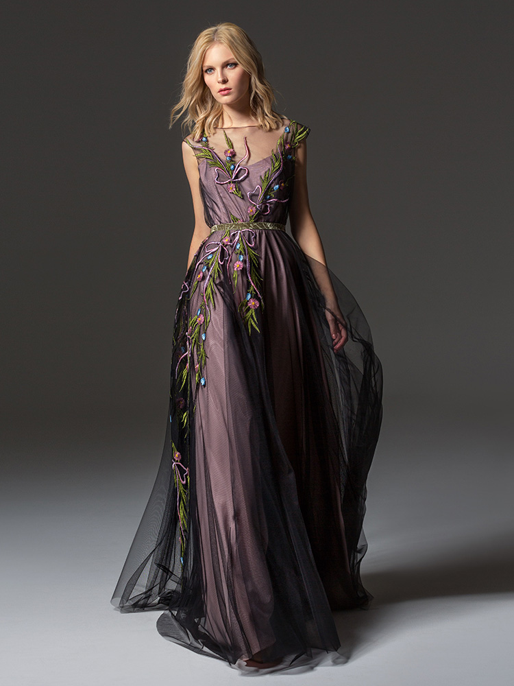 Style #340, cap sleeve maxi dress with an illusion neckline and floral embroidery down the skirt, available in black, ivory, pink-ivory