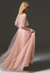 Style #342, cape sleeve long evening dress with an illusion floral embroidered neckline, available in pink-ivory, cream-pink