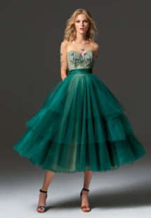 Style #346, cap sleeve cocktail dress features an illusion sweetheart neckline, 3-D flower decor, and tiered tulle tea-length skirt, available in scarlet, dark blue, pink-ivory, green, grey, ivory, turquoise, nude, creamy salmon, salmon, cool blue, aqua, crimson, coral, light green