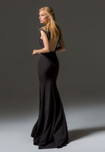 Style #347, fit-and-flare maxi evening gown with embellished straps and illusion low back, available in black, ivory, grey
