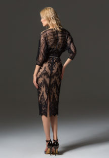 Style #348, three-quarter sleeve cocktail dress features sheer embroidered blouse with lace fitted skirt, available in black