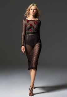 Style #349, long sleeve sequined evening gown features flower 3-D embroidery on the top, velvet belt, open V-back, and sheer knee-length skirt, available in black, beige