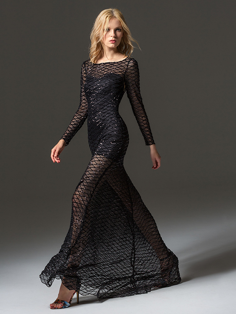 Style #350, long sleeve sequined evening gown features flower embroidery on the back and a full-length sheer skirt, available in black