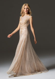 Style #351, sequined maxi gown with floral embroidery on the top, available in black, beige