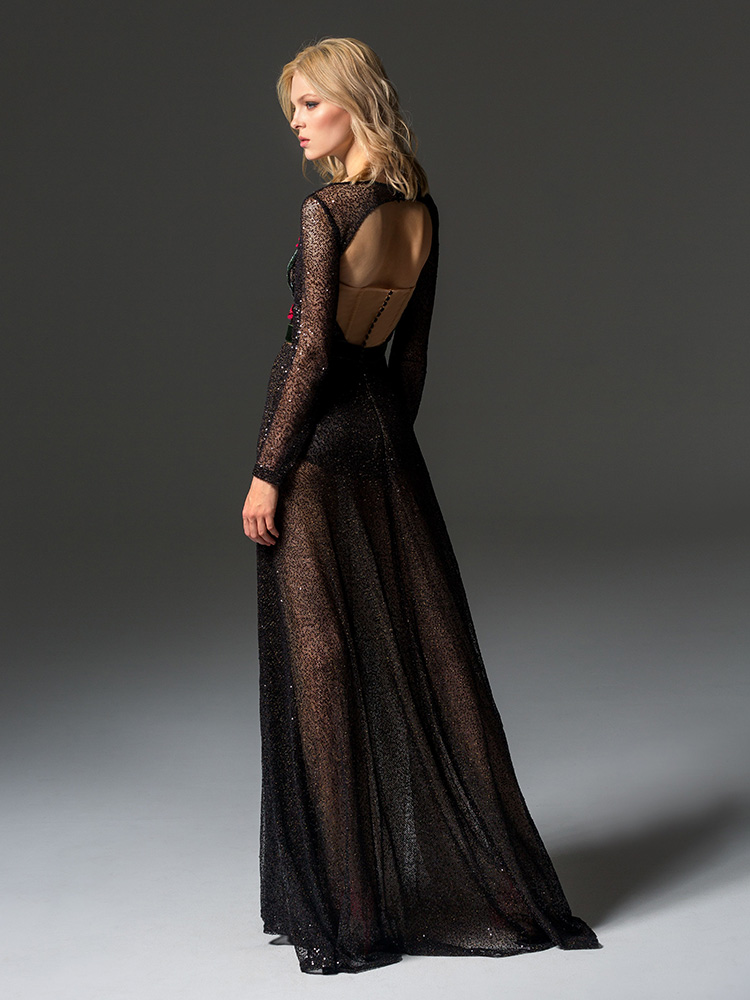 Style #354, long sleeve sequined evening gown features flower 3-D embroidery on the top, velvet belt, keyhole open back, and a full-length sheer skirt, available in black, beige