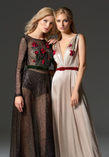 Style #354, long sleeve sequined evening gown features flower 3-D embroidery on the top, velvet belt, keyhole open back, and a full-length sheer skirt. Style #355, illusion plunging neckline evening gown with floral embroidered top and velvet belt. Both styles are available in black, beige