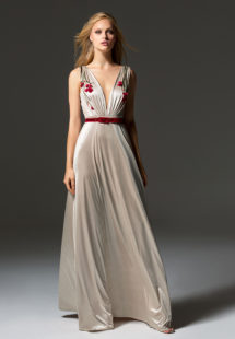 Style #355, illusion plunging neckline evening gown with floral embroidered top and velvet belt, available in black, beige