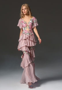 Style #359, butterfly sleeve ruffled evening dress with an illusion neckline and floral embroidery, available in pink-ivory