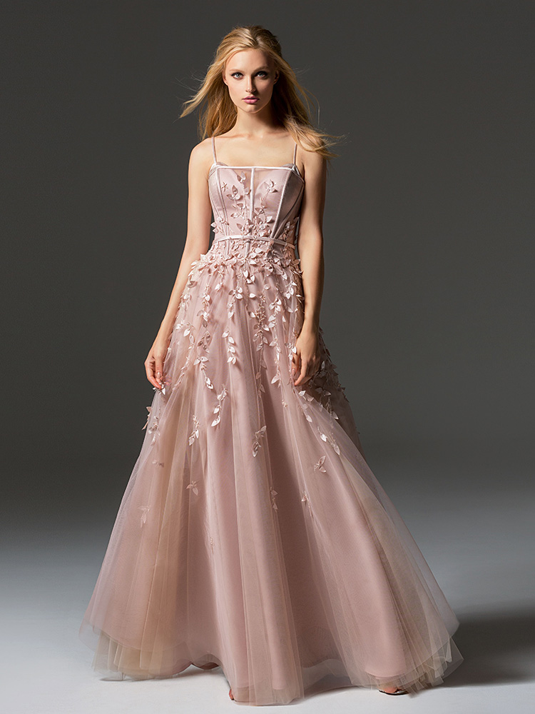Style #362, spaghetti strap evening gown with leaf embroidery down the skirt, available in pink-ivory, cream-pink