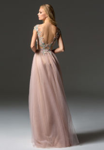 Style #363, illusion neckline A-line evening gown with cap sleeves, embroidered top and V-back, available in green, pink
