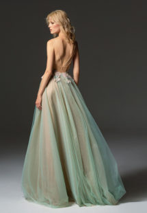 Style #364, spaghetti strap A-line maxi dress with illusion plunging neckline, embroidered top, and tulle flowy skirt, available in green, pink