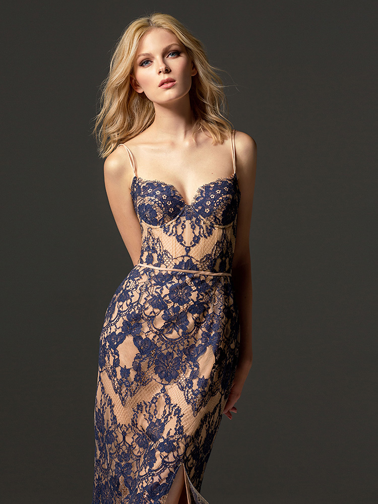 Style #365, knee-length lace cocktail dress with bustier top and fitted skirt, comes with long sleeve bolero, available in dark blue, ivory