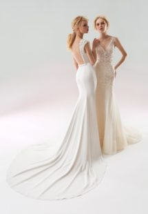 Style #18/1901L, fit-and-flare wedding gown with embellished straps and low illusion back. Style #18/1903L, sequined lace fit-and-flare wedding dress with low V-back and embroidery down the tulle skirt. Both styles are available in ivory