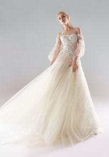 Style #18/1907L, bishop sleeve A-line wedding dress with floral lace embroidery and illusion back, available in ivory-pink