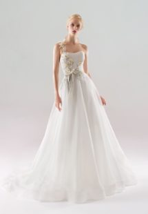 Style #1909L, one strap A-line wedding dress with 3-D floral embroidered top and flowy organza skirt, available in ivory