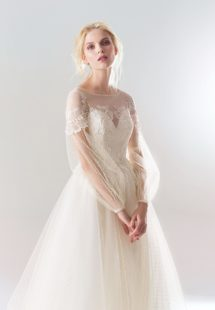 Style #18/1910L, polka-dot lace A-line wedding dress with bishop sleeves and lace embroidery down the top, available in ivory-pink, ivory