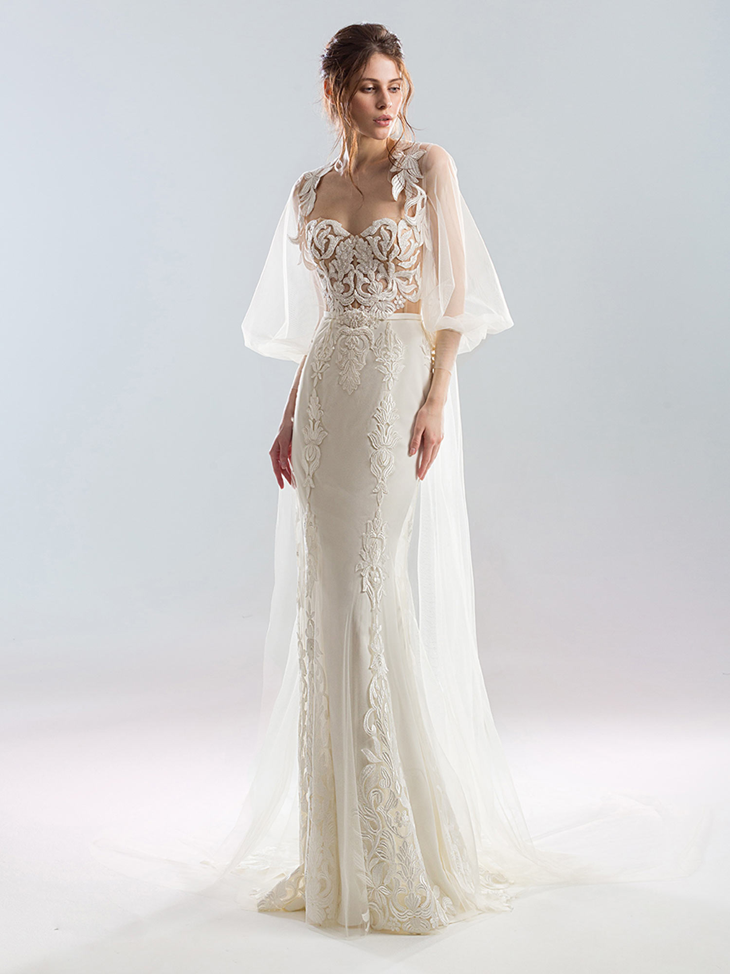 Style #1910L, available in ivory; Style #1910-7 (cape), available in ivory