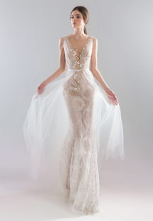 Style #1923L, available in ivory with nude lining (photo), ivory; Style #1923-2 (skirt), available in ivory
