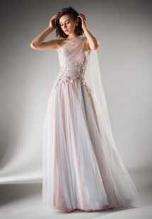 Style #402, available in ivory, lavender, peach