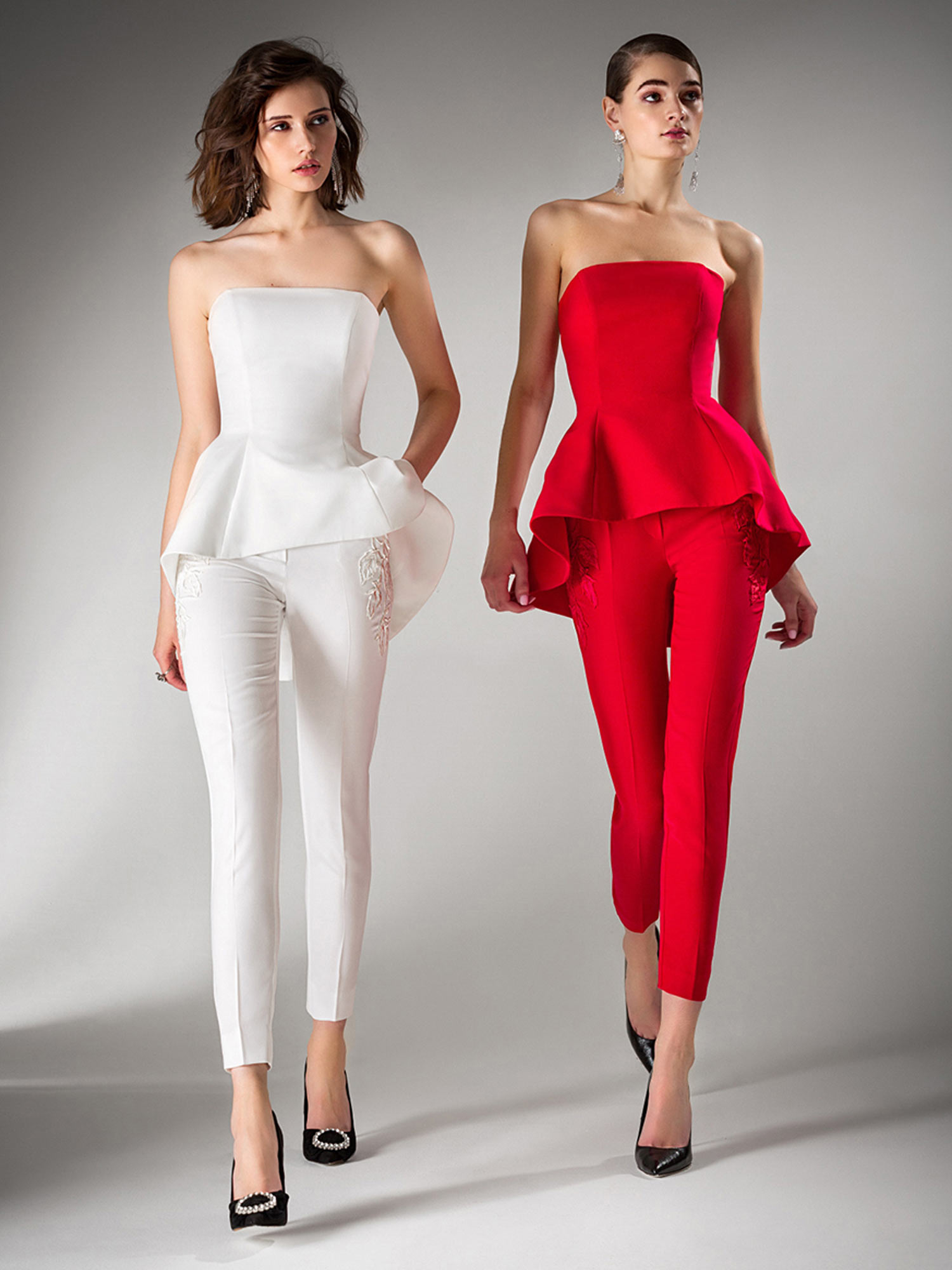 Style #435-3, Style #435-4, available in ivory, pink, red, blue