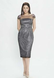 Style #M513, cocktail dress with florals cap sleeves, available in black-grey