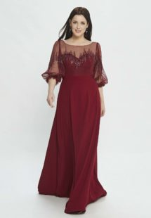 Style #M527, A-line evening dress with bishop sleeves and embroidery, available in burgundy, powder, black, ivory