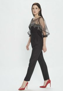 Style #M509-8, jumpsuit with bishop sleeves and pleated pants, available in burgundy, powder, black, ivory